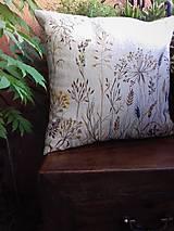 """Úžitkový textil - Ľanový, ručne maľovaný vankúš """" Suché steblá tráv """" (Suché steblá 40 x 40) - 12844420_"""