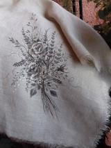 """Úžitkový textil - Ľanová, ručne maľovaná utierka """" Suché steblá tráv """" (suché steblá tráv a ruže) - 12844534_"""