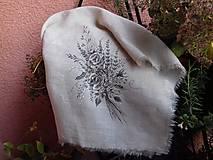 """Úžitkový textil - Ľanová, ručne maľovaná utierka """" Suché steblá tráv """" (suché steblá tráv a ruže) - 12844536_"""