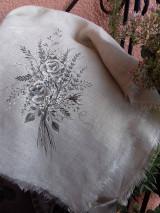 """Úžitkový textil - Ľanová, ručne maľovaná utierka """" Suché steblá tráv """" (suché steblá tráv a ruže) - 12844537_"""