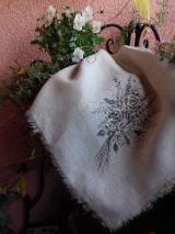 """Úžitkový textil - Ľanová, ručne maľovaná utierka """" Suché steblá tráv """" (suché steblá tráv a ruže) - 12844538_"""