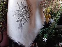 """Úžitkový textil - Ľanová, ručne maľovaná utierka """" Suché steblá tráv """" (suché steblá tráv a ruže) - 12844541_"""