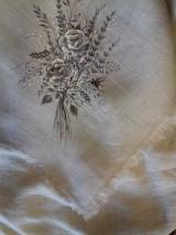 """Úžitkový textil - Ľanová, ručne maľovaná utierka """" Suché steblá tráv """" (suché steblá tráv a ruže) - 12844543_"""
