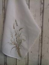 """Úžitkový textil - Ľanová, ručne maľovaná utierka """" Suché steblá tráv """" (suché steblá a klásky) - 12844551_"""