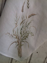 """Úžitkový textil - Ľanová, ručne maľovaná utierka """" Suché steblá tráv """" (suché steblá a klásky) - 12844552_"""