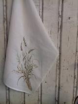 """Úžitkový textil - Ľanová, ručne maľovaná utierka """" Suché steblá tráv """" (suché steblá a klásky) - 12844553_"""