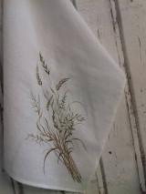 """Úžitkový textil - Ľanová, ručne maľovaná utierka """" Suché steblá tráv """" (suché steblá a klásky) - 12844554_"""