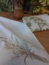 """Úžitkový textil - Ľanová, ručne maľovaná utierka """" Suché steblá tráv """" (suché steblá a klásky) - 12844555_"""