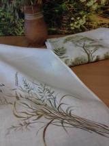 """Úžitkový textil - Ľanová, ručne maľovaná utierka """" Suché steblá tráv """" (suché steblá a klásky) - 12844557_"""