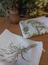 """Úžitkový textil - Ľanová, ručne maľovaná utierka """" Suché steblá tráv """" (suché steblá a klásky) - 12844558_"""