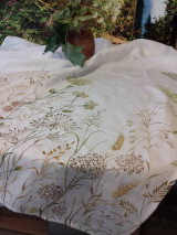 """Úžitkový textil - Ľanová, ručne maľovaná utierka """" Suché steblá tráv """" (suché steblá a klásky) - 12844561_"""