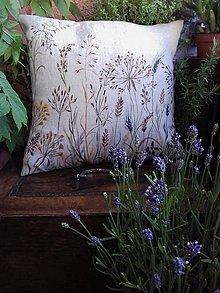 """Úžitkový textil - Ľanový, ručne maľovaný vankúš """" Suché steblá tráv """" - 12844415_"""
