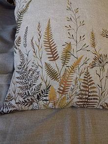 """Úžitkový textil - Ľanový, ručne maľovaný vankúš """" Suché steblá tráv """" (Suché steblá a paprade 40 x 40) - 12844441_"""