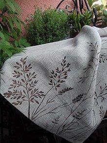"""Úžitkový textil - Ľanová, ručne maľovaná utierka """" Suché steblá tráv """" - 12844512_"""