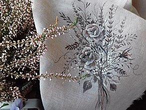 """Úžitkový textil - Ľanová, ručne maľovaná utierka """" Suché steblá tráv """" (suché steblá tráv a ruže) - 12844526_"""
