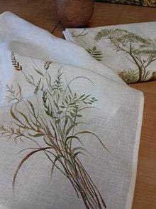 """Úžitkový textil - Ľanová, ručne maľovaná utierka """" Suché steblá tráv """" (suché steblá a klásky) - 12844556_"""