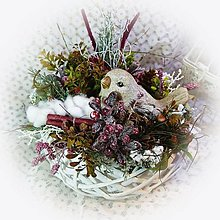 Dekorácie - Bílé hnízdo - Zimní ptáček - 12847701_