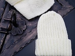 Čiapky - Smotanový set čiapky a nákrčníka - 12846357_
