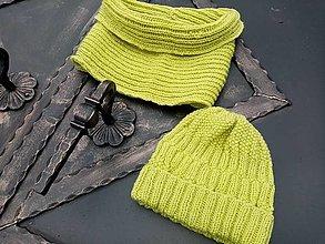 Čiapky - Jabĺčkovo-zelený set čiapky a nákrčníka - 12846378_