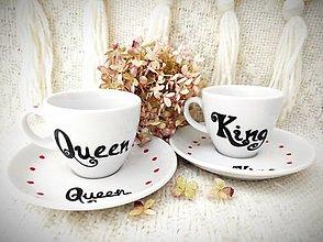 Nádoby - Espresso šálky pre dvoch ,,King & Queen - 12850695_