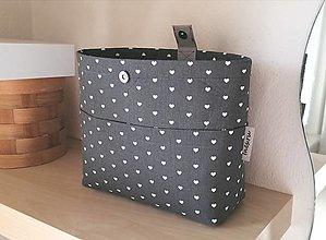 Taštičky - Organizér do kabelky srdiečkový sivej farby      - 12850325_