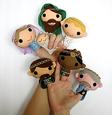Hračky - Sada maňušiek na prst (Svätá rodinka s anjelom a tromi kráľmi) - 12848554_