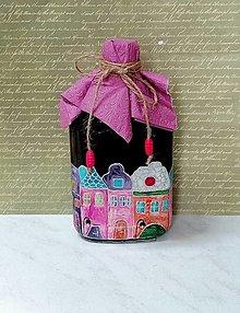 Nádoby - maľovaná fľaša domčeky - 12851746_
