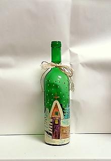 Nádoby - maľovaná fľaša zimná krajinka - 12851778_