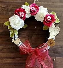 Dekorácie - jarný venček ružičky - 12851825_