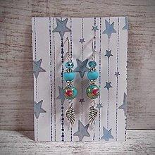 Náušnice - Náušnice s anjelskými krídlami, ruže, nebíčková modrá - 12851523_