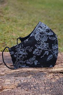 Rúška - Rúško čierne, jemný vzor - 12851124_