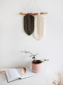 """Dekorácie - makramé listy """"minimalizmus"""" (olivová-biela) - 12852233_"""