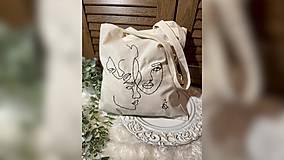 Nákupné tašky - ♥ Plátená, ručne vyšívaná taška ♥ - 12853517_