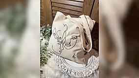 Nákupné tašky - ♥ Plátená, ručne vyšívaná taška ♥ - 12853520_