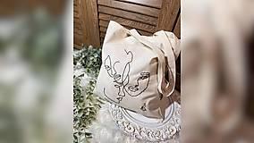 Nákupné tašky - ♥ Plátená, ručne vyšívaná taška ♥ - 12854179_