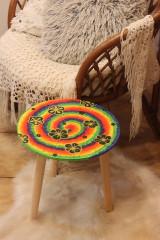 Nábytok - Drevený stolík HIPPIES ŠPIRÁLA ručne maľovaný - 12853946_