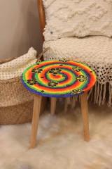 Nábytok - Drevený stolík HIPPIES ŠPIRÁLA ručne maľovaný - 12853960_