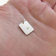 Náhrdelníky - MiniMe_PersonalMedail  (1x prívesok obdĺžnik malý / Ag925) - 12853596_