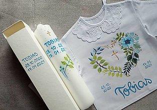 Detské oblečenie - Modrý nebeský set na krst - 12857004_