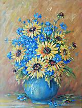 Obrazy - Kytica v modrej váze - 12855758_