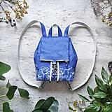 Batohy - Ruksak CANDY backpack - modré kvety v linke - 12858670_