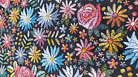 Šály - Nákrčník, vyšívané kvety - 12856550_