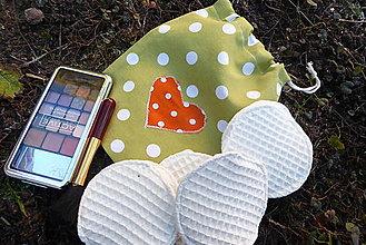 Úžitkový textil - vrecko na odličovacie tampóny-zelené - 12856569_