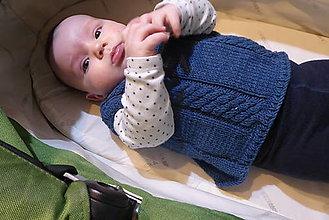 Detské oblečenie - modrá detská vesta - 12858860_