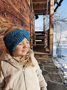 Detské čiapky - Čelenka twist modrá - neskutočne hrejivá alpaka - 12859308_