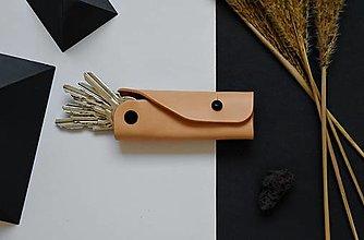 Kľúčenky - Kožená kľúčenka Beta Prírodná - 12858329_