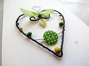 Dekorácie - srdiečko - zelené - 12855489_