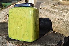 Dekorácie - Váza zelená kocka, kraklovaná . - 12860174_