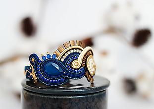Náramky - Modro-béžový šujtášový náramok so Swarovski krištáľmi - 12861099_