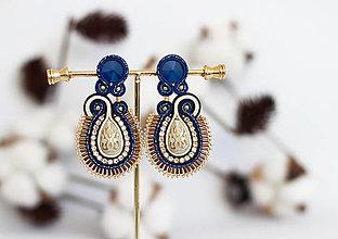Náušnice - Modro-béžové šujtášové náušnice so Swarovski krištáľmi - 12861109_
